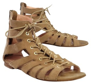 Stuart Weitzman Tan Suede Lace Up Sandals