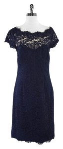 Monique Lhuillier Navy Lace Cotton Blend Dress