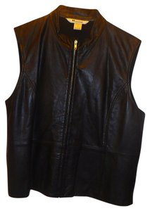 Peter Nygard Leather Woman's Plus-size Vest