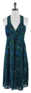 Shoshanna short dress Blue Green Floral Silk Sleeveless on Tradesy