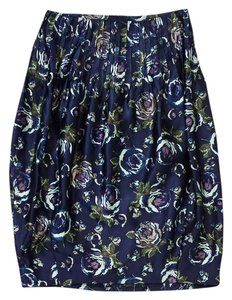 SUNO Blue Floral Print Silk Skirt