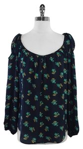 Rebecca Taylor Navy Teal Floral Silk Top