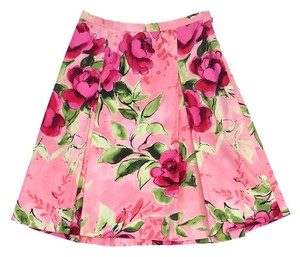 Love Moschino Pink Green Floral Print Skirt