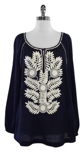 Tory Burch Navy & White Floral Embroidery Top