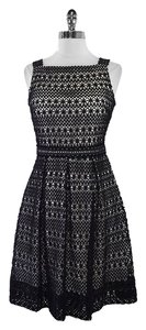 David Meister short dress Black White Crochet Overlay on Tradesy