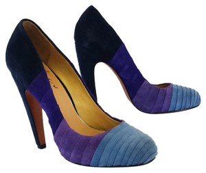 Badgley Mischka Blue Violet Suede Colorblock Pumps