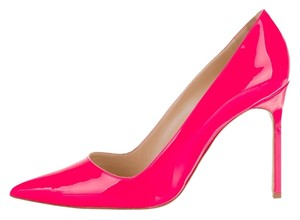 Manolo Blahnik Neon Patent Patent Leather Stiletto Pointed Toe Bb New 39.5 9.5 Pink Pumps