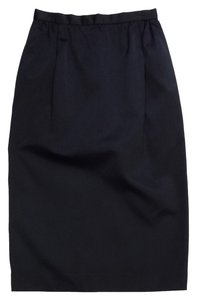 Carolina Herrera Vintage Black Satin High Waisted Skirt