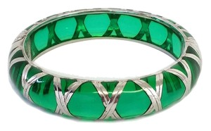 Angelique de Paris Green & Silver Bamboo Bracelet