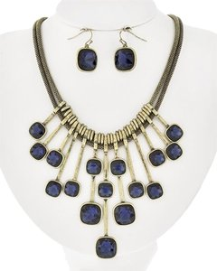 COULEUR Burnished Gold Tone Montana Glass Necklace and Earrings