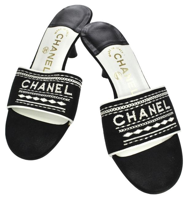 Item - White Cc Logos Black Canvas Vintage #36 Italy S02410 Sandals Size US 5.5 Narrow (Aa, N)
