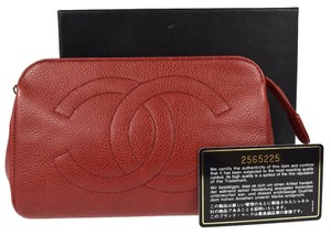 Chanel Authentic CHANEL CC Logos Pouch Bag Caviar Leather Red France Vintage 13C353