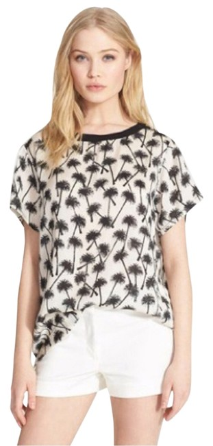 Item - Ivory and Black Palm Tree Print Silk Sm New with Tags Blouse Size 4 (S)