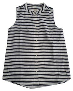 J.Crew Button Down Shirt Stripes Navy Blue/White Bone