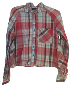 Urban Outfitters T Shirt Flannel red blue white