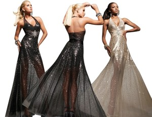 Tony Bowls Gown Ballgown Sexy Sheer Prom Homecoming Military Ball Pageant 12 14 Dress