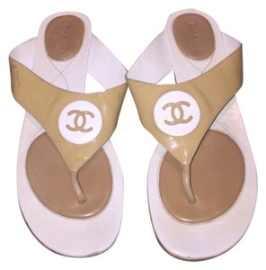 Chanel Beige Tan Logo Cc Flip Flop Flat Thong Beach Resort Spring Summer Classic Gucci Fendi Prada Lv Vuitton Louis Vuitton Nude Sandals