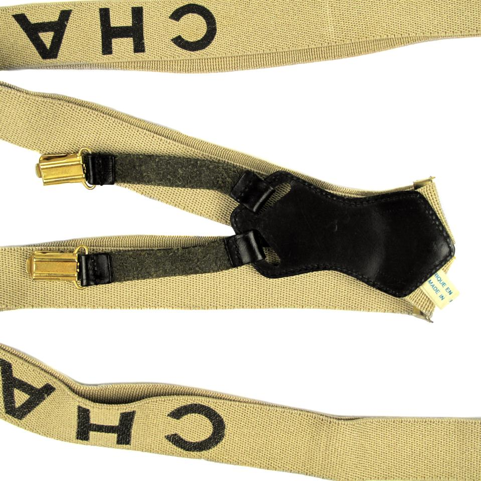 f2e821abc Chanel CHANEL SUSPENDERS - TAN   BLACK LOGO CC GOLD LEATHER BELT VINTAGE  Image 4. 12345