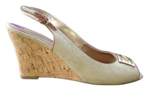 Tommy Hilfiger Formal Casual Open Toe Buckle Logo Beige and Gold. Wedges