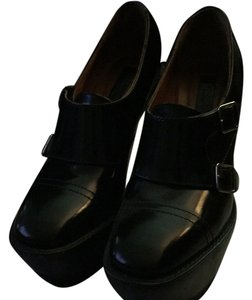 Burberry Prorsum Wedge Leather Monk Straps Black Boots