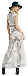 white Maxi Dress by Free People Annina Crochet Sz Small