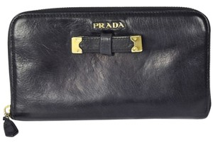 Prada Auth PRADA Logos Long Zipper Wallet Purse Leather Black Italy Vintage