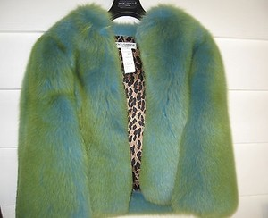 Dolce&Gabbana Greenblue Fox Fur Leopard Lining 6 Multi-Color Jacket