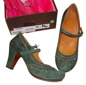 Chie Mihara Art Deco Green Pumps