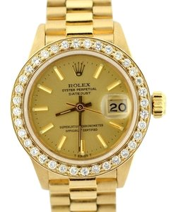 Rolex Ladies Presidential Datejust 18K Gold Diamond Watch