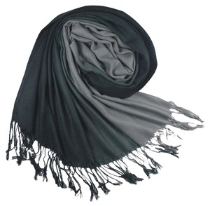 Other 2 Tone Black/Gray Scarf Shawl with fringe free shipping