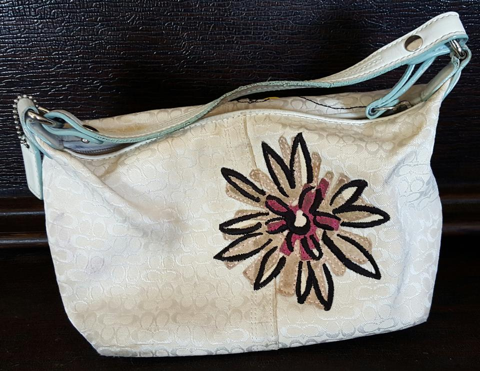 White Coach Purse With Flowers