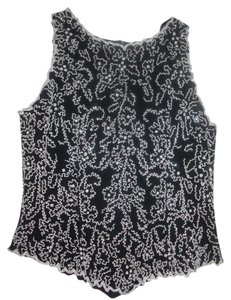 Leslie Fay Top Beaded Black and White