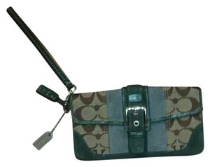 Coach Wristlet in Blue green Brown