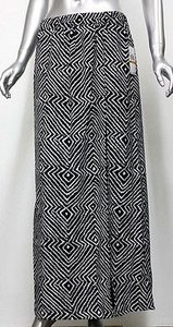 Michael Kors Womens Black White Geometric Lined Front Long Maxi Skirt Multi-Color