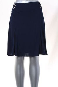 Ralph Lauren Lauren Womens Lace Up A Line Flare Above Knee Skirt Navy
