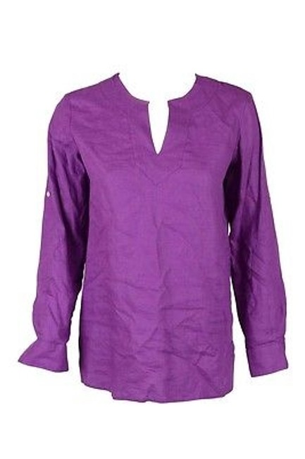 Preload https://img-static.tradesy.com/item/6337144/ralph-lauren-womens-linen-purple-amethyst-adjustable-sleeve-v-neck-top-shirt-ps-0-0-650-650.jpg