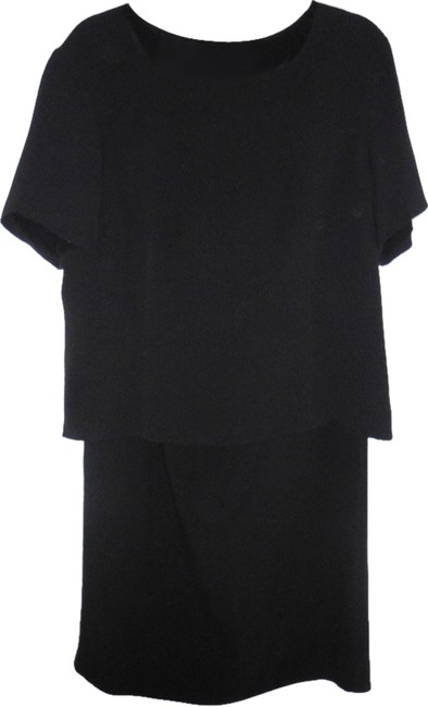 Item - Black 3 Piece Silk Top Skirt and Pants Special Occasion Mid-length Cocktail Dress Size 16 (XL, Plus 0x)