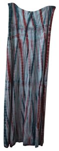 Lucky Brand Boho Maxi Maxi Skirt Tie dye turquois and maroon