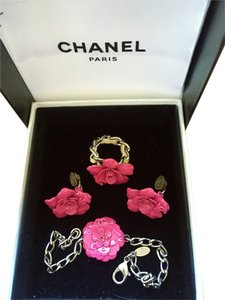 Chanel Pink Camilla Chanel jewelry set! Ring (7) clip-on earrings and matching chain Camilla bracelet!