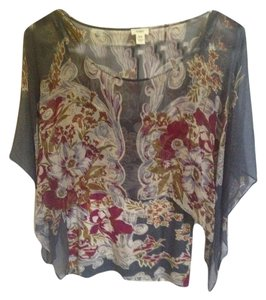 Tiny/Anthropology Top Multi-colored shades of blue/grey, merlot, cream. olive and orange