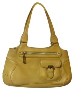Cole Haan Leather Designer Like New Baguette Handbag Tote in Yellow