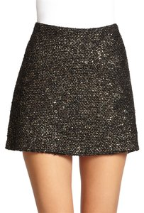 Alice + Olivia Metalic Tweed Mini Mini Skirt Gold