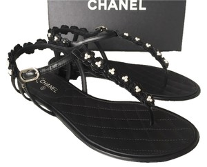 Chanel Leather Flat Luxury Quilted Black Sandals