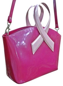 Beijo Limited Edition Breast Cancer Awareness Ribbon Cruelty Free Pearlescent Detachable Strap Stainless Steel Feet Cancer Shoulder Bag