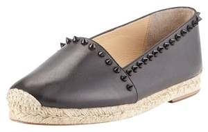 Christian Louboutin Studded Leather Espadrilles Black Flats
