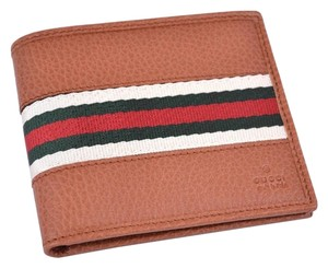 d28c2e7d4186 Gucci NEW GUCCI 231845 Men's Pebbled Tan Leather Red Green Web Stripe Bifold  Wallet