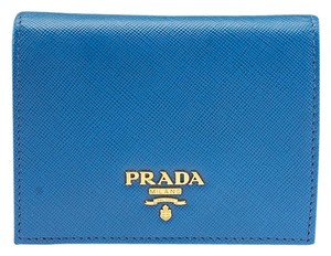 Prada Prada 1M0204 Saffiano Blue Leather Bi-Fold Wallet (55761)
