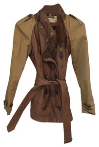 Burberry Brit khaki with brown leather Jacket