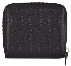 Gucci New Gucci Women's 346056 Black Leather GG Guccissima French Zip Wallet W/Coin