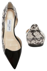 Jimmy Choo Patent Leather Snake Pointed Toe D'orsay Neutral Black and White Flats